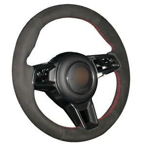 Black Suede Car Steering Wheel Cover for Porsche Macan Cayenne 2015 2016