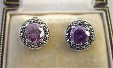 Deco Design Amethyst CZ, Marcasite & Silver Stud Earrings