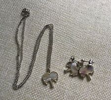 PALM TREE ABALONE SET OF NECKLACE & EARRINGS ON STERLING SILVER! NEW!