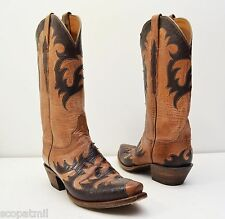 Lucchese Handmade Classics L4723 Die Cut Mad Dog Goat Leather Boots Sz 8 - $1300