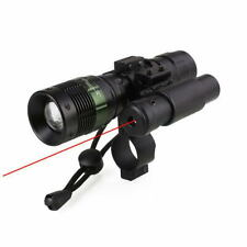 Tactical Zoomable LED Flashlight Torch Laser Red Dot Laser Sight Scope Mount
