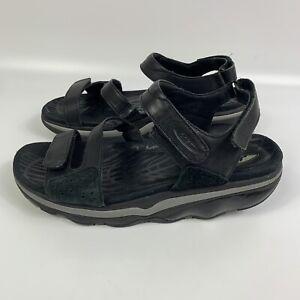 MBT Womens Black Leather Sport Sandals Rocker Sole US 8-8.5 EU 39 UK 6