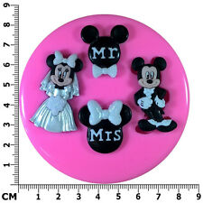 Mr & Mrs Mickey & Minnie Mouse Wedding Engage Silicone Mould by Fairie Blessings