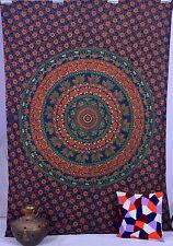 Gemelo Indio Pared Colgante Elefante Mandala Tapicería Colcha Boho Étnico