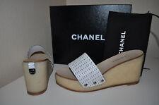 $795+  CHANEL Sz 40 / 10 CC SECRET QUILTED White Leather Sandal Slide Shoe Mules