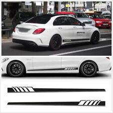 2 Pcs Black Waterproof Long Stripe Car Autos Both Side Body Decor Decal Stickers