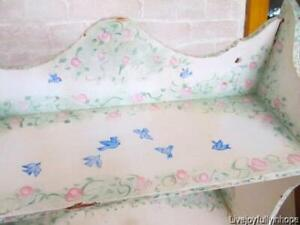 Shabby Cottage! ~ BLUEBIRDS & PINK ROSES! Hand surPainted HP Mounted Wall Shelf