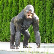 GORILLA schwarz braun 130 cm lebensgroß stehend Deko Garten Tier Figur AFFE ZOO