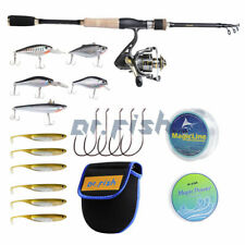 5.9 Ft Fishing Rod and Reel Combo 9+1Bb Lures Line Hooks Saltwater Bass Trout