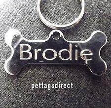 DOG ID Bones Pet Tags 4 for £10 - Polished 42mm  Engraved Animal Discs JOB LOT !