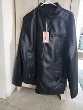 Youhan black Faux Leather Coat Jacket. NWT. Men's Lg