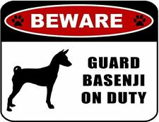 Beware Guard Basenji (Silhouette) on Duty Laminated Dog Sign