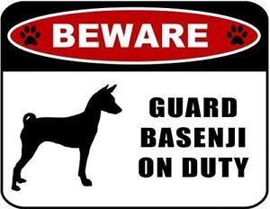 Beware Guard Basenji (Silhouette) on Duty Laminated Dog Sign