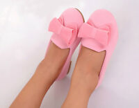 Kids Girls Slip On Casual Cute Coral Velvet Vamp Pumps Bow-knot Princess Shoes
