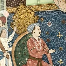 Fine Detail Antique Persian Watercolor on Silk of Court King Scene