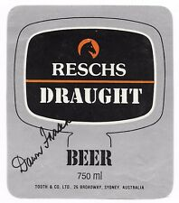 Dawn Fraser - Olympic Swimming Legend - Hand Signed Beer Label - Reschs Draught