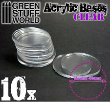 10x Acrylic Bases - Round 40mm CLEAR - Thickness 3mm Basing Wargames Miniatures
