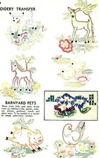 Vintage Embroidery transfer repo 7136 Barnyard pets Horse Lamb Deer Duck Chick