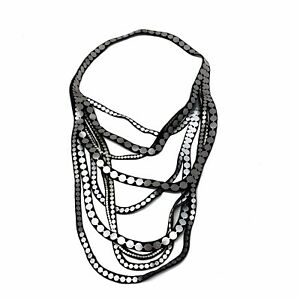 Designer Faux Leather Black Silver Cascading Bib Necklace