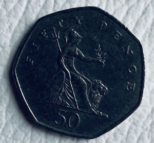 UK 50 pence shield of britania, year 1997 RARE COLLECTABLE OLD