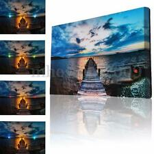 8 LED Lighted Abstract Lake Canvas Art Print Light Up Picture Home Wall Decor
