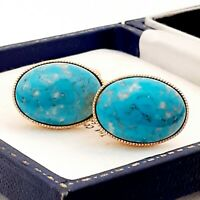 Vintage 1950s Turquoise Blue Marble Peking Glass - Oval Gold Plated Cufflinks