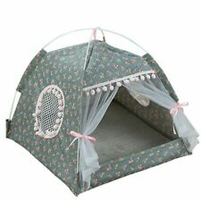 Breathable Pet Printed Tents W/ Net Cat Small Dog House Folding Dogs Tent Houses