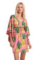 TRINA TURK 60'S STYLE RESORT PINK GREEN PINEAPPLE KIMONO SLV KAIRI DRESS 4 NWT