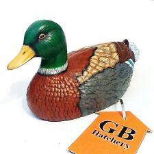 Ceramic Duck Figurine Decoy Vintage look porcelain painted Mallard -256-