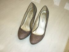 """Spot On evening shoes size 6 UK, gold sparkle, 3"""" gold colour heel used 1 cruise"""