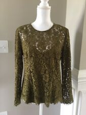New J Crew Lace Top with Built-in Cami Evergreen Green Sz 4 H2200