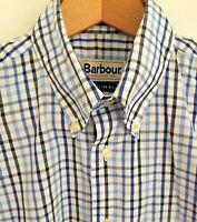 Barbour Bowburn Shirt Blue Blk Check Long Sleeve Button Cotton Lightweight Small
