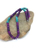 "Stunning Navajo Purple Sugilite Turquoise Bead Sterling Silver Necklace 20"" 3280"