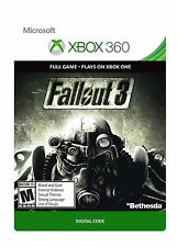 Fallout 3 Microsoft XBOX 360 & Xbox One DOWNLOAD CARD FULL GAME DLC Fall Out