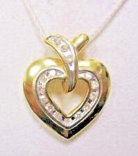 14K .585 YELLOW GOLD HEART PENDANT WITH ROUND DIAMONDS IN CHANNEL SETTING