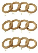 12 X Harrison Drape Elite Natural Finish Wooden Curtain Rings for 35mm Dia Pole