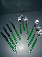 Mixed lot of spoons forks knives hunter dark green plastic handles hanging holes