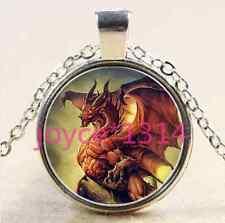 Vintage dragon Cabochon Tibetan silver Glass Chain Pendant Necklace #2152