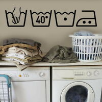 Laundry Symbols Window Sticker Washing Removable Wall Decal Washing Room Sign 34