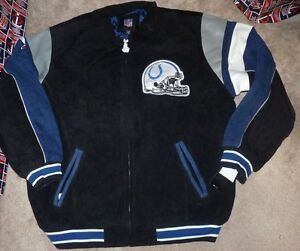 NEW NFL Indianapolis Colts Football Suede Leather Jacket 2XL XXL NEW NWT