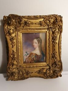 Antique Portrait Miniature In Gilt Gesso Frame 19th Century Dated 1839