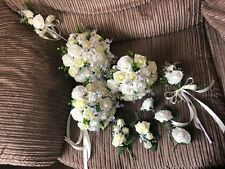 Wedding Flowers Brides White & Lemon Roses, Gyp, White Lavender Bouquet Package
