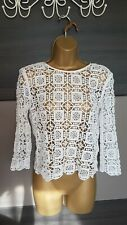 Topshop white crochet lace long sleeved cropped top size 8