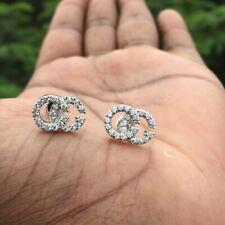 GG Running Pave Diamond Stud Earrings in 14k White Gold Finish For Women's
