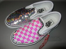 Vans Slip On Women Shoes Silver White Pink Checker Checkerboard Flipping Sequins