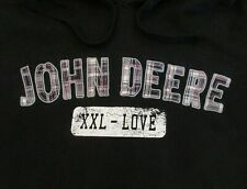 John Deere Womens XXL Hooded Sweatshirt Hoodie Pink Plaid Embroidered Spell Out