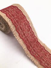 2m Jute Hessian Burlap Lace Ribbon Vintage Wedding Rustic width 6cm wine red
