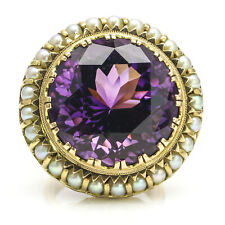 14k Yellow Gold Amethyst Pearl Vintage Cocktail Ring