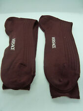 VERSACE Set of Two New Socks Size 40-42 / 7-9 Merino Wool Burgundy
