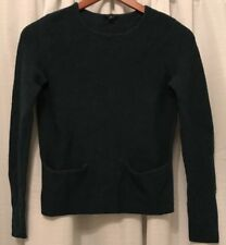 Ann Taylor Sweater Small Hunter Green Long Sleeve Front Pockets